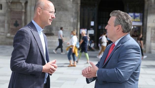 Bürgermeister Michael Ludwig im Gespräch mit Dompfarrer Toni Faber
