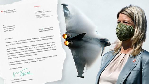 Vergangenen Sommer sorgte ein Brief aus Indonesien für Hoffnung in Wien - es wurde der Kauf unserer Eurofighter in Aussicht gestellt (Bild: BMLV, APA, AFP, Krone KREATIV)