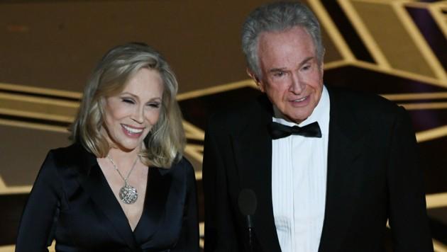 Faye Dunaway und Warren Beatty - hier bei den Oscars 2018 - verfilmten die Story von Bonnie Parker und Clyde Barrow. (Bild: AFP)