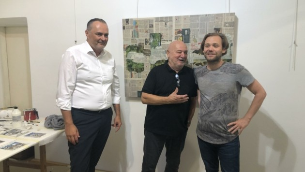 Landeschef Hans Peter Doskozil mit den Künstlern Harro Pirch und Florian Lang, der bereits ein Stipendium erhalten hat.