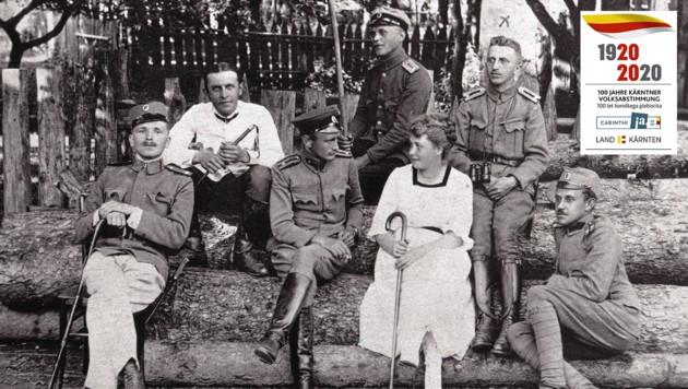 Dieses historische Foto zeigt jugoslawische Offiziere während der Besatzung in St. Paul im Lavanttal. (Bild: Gemeindearchiv St. Paul, Krone KREATIV)
