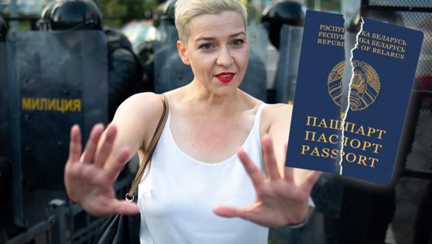 Die verschwundene Oppositionelle Maria Kolesnikowa soll bei der Festnahme ihren weißrussischen Pass zerrissen haben. (Bild: stock.adobe.com, AFP, Krone KREATIV)