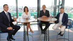 Wiens Bildungsdirektor Heinrich Himmer, krone.tv-Moderatorin Katia Wagner, Bildungsminister Heinz Faßmann (ÖVP) und Bildungsexperte Andreas Salcher (Bild: Jöchl Martin)
