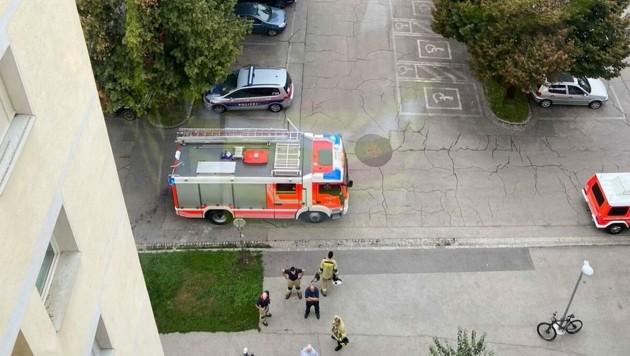 Vom Fenster des Stiegenhauses konnte die Frau zuschauen, wenn die Einsatzkräfte anrückten.