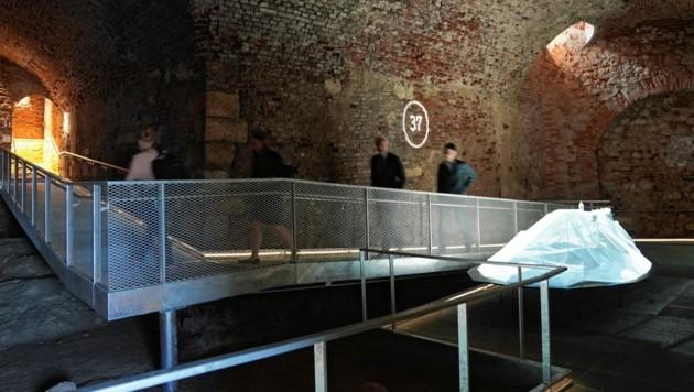 Absoluter Höhepunkt des neuen Museums: Das multimedial bespielte Modell des Schloßbergs (Bild: Sepp Pail)