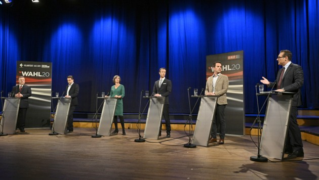 Duell im ORF-Funkhaus: Die Spitzenkandidaten wiederholten zum Großteil ihre bereits bekannten Positionen. (Bild: APA/HANS PUNZ)
