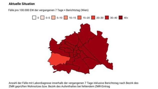 Verteilung der Infektionsfälle in Wien vom 9. September (Stand: 18 Uhr) (Bild: zVg)