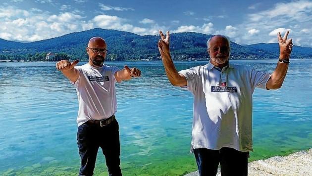 Die Initiatoren des Seenvolksbegehrens, Gerhard Godescha und Walter Polesnik. Ihr Anliegen wurde im Landtag beschlossen. (Bild: Kerstin Wassermann)