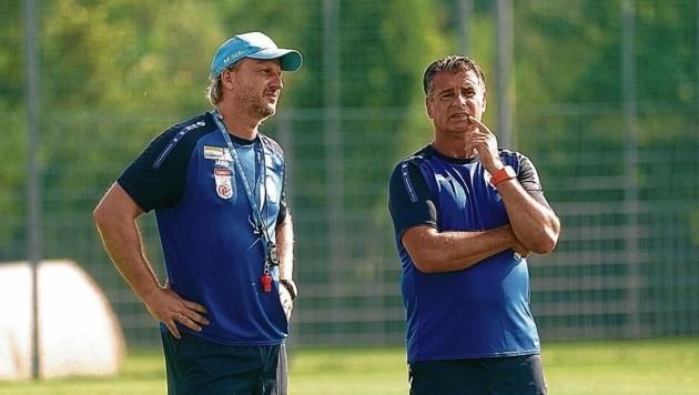 """Ein eingespieltes Team: Markus Schopp (li.) und sein """"Co"""" Kurt Russ. (Bild: Sepp Pail)"""