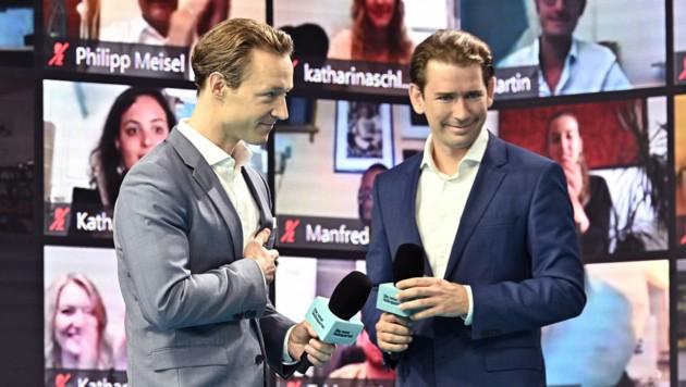 Landesparteiobmann Gernot Blümel und Bundesparteiobmann Sebastian Kurz beim Auftakt zum Wahlkampf der Wien-Wahl. (Bild: APA/HANS PUNZ)
