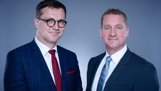 Die Geschäftsführung der Rundfunk- und Telekomregulierungsbehörde RTR: Klaus M. Steinmaurer (l., Fachbereich Telekom und Post) und Oliver Stribl (Fachbereich Medien) (Bild: RTR/David Bohmann)