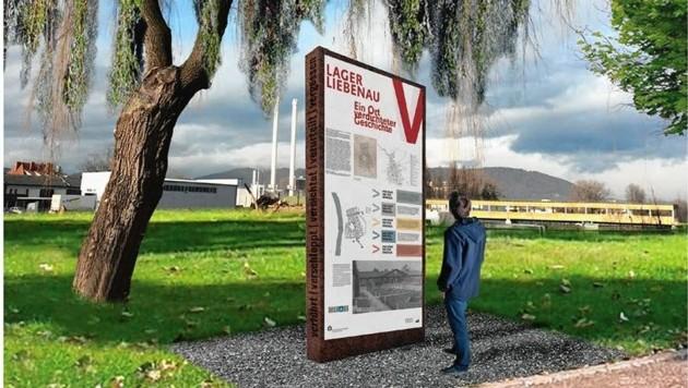 Gedenktafel im Maria-Cäsar-Park auf dem ehemaligen Gelände des Lagers Liebenau (Bild: CC by Klug)