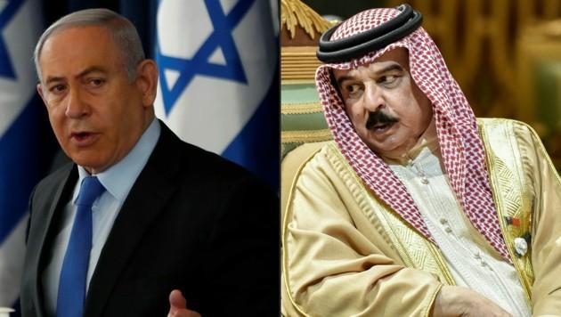 Israels Premierminister Benjamin Netanyahu und Bahreins König Hamad bin Isa Al Khalifa dürften Trumps Abkommen wohlgesinnt sein. (Bild: AFP/RONEN ZVULUN/Fayez Nureldine)