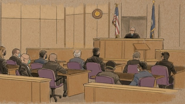 Die vier Polizisten waren im Todesfall George Floyd zum ersten Mal vor Gericht. (Bild: AFP )