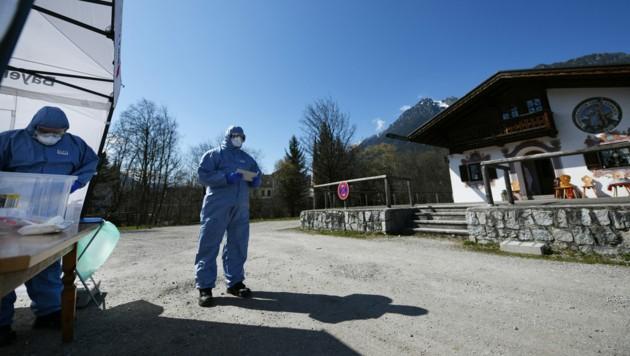 Drive-In-Teststation in Garmisch-Partenkirchen im März (Archivbild). (Bild: Angelika Warmuth / dpa / picturedesk.com)