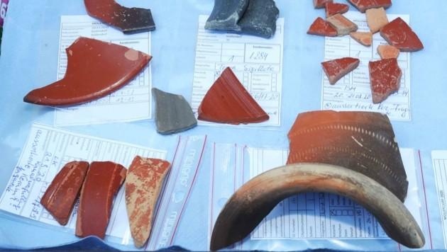 Fundstücke von den Ausgrabungen in Müllendorf, wo im Ortskern eine römische Kleinstadt entdeckt wurde. (Bild: Judt Reinhard)
