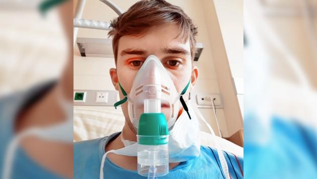 Ein Foto des 27-Jährigen im Krankenhaus