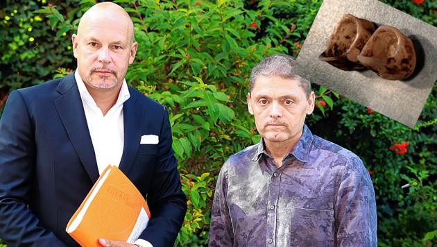 Leopold Haschka (rechts) mit Anwalt und Prozessspezialist Johannes Bügler