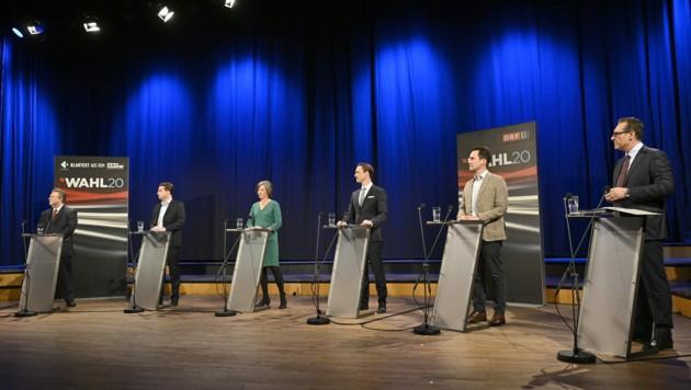 Die Spitzenkandidaten der Wien-Wahl, von links: Bürgermeister Michael Ludwig (SPÖ), Dominik Nepp (FPÖ), Birgit Hebein (Grüne), Gernot Blümel (ÖVP), Christoph Wiederkehr (Neos), Heinz-Christian Strache (HC). (Bild: APA/HANS PUNZ)