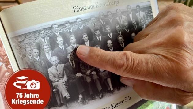 """""""Einst am Kreuzbergl"""": So sah Otto Reitzl als Schüler aus, inzwischen ist er schon 90 Jahre alt. Klassentreffen mit ehemaligen Kollegen werden noch heute abgehalten."""