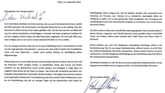 Der Brief von Nerhammer an Ludwig (Bild: BMI)