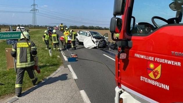 Bei Steinbrunn krachte es ebenfalls. Zwei Frauen und ein Mann erlitten dabei schwere Verletzungen. (Bild: FF Steinbrunn)