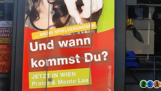 Offensiv-aggressive Methoden: Werbung für das Glücksspiel auf Straßenbahnen. (Bild: Erich Vogl)