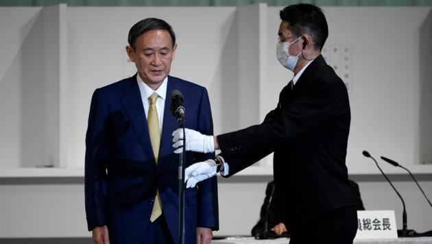 Yoshihide Suga setzte sich bei der Wahl klar durch.