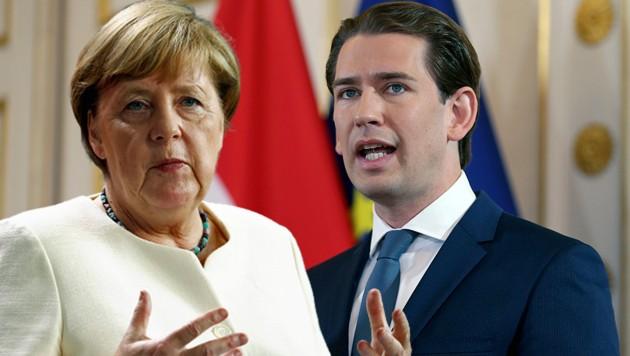 Bundeskanzler Sebastian Kurz muss seine Kontakte vorlegen. Dazu zählt auch die Nummer von Deutschlands Kanzlerin Angela Merkel. (Bild: AP, krone.at-Grafik)