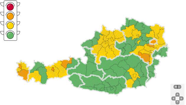 Sieben Bezirke sind seit 15. September auf der Corona-Ampel orange geschaltet.