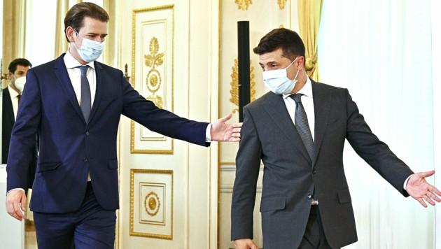 Regierungschef Sebastian Kurz empfing den ukrainischen Präsidenten Wolodymyr Selenskyj im Bundeskanzleramt. (Bild: APA/HANS PUNZ)
