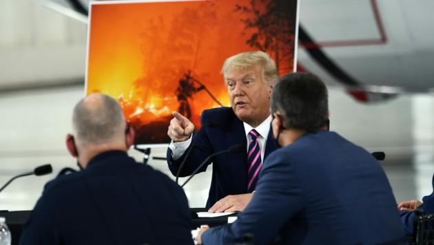 """US-Präsident Donald Trump sieht """"explodierende Blätter"""" als großes Problem bei Waldbränden."""