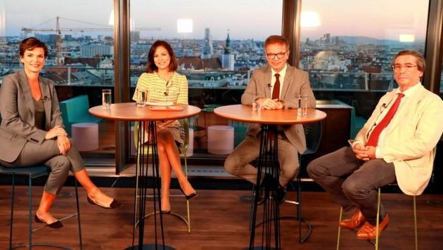 SPÖ-Chefin Pamela Rendi-Wagner, Moderatorin Katia Wagner, Gesundheitsminister Rudolf Anschober (Grüne) und Infektiologe Florian Thalhammer im #brennpunkt-Talk