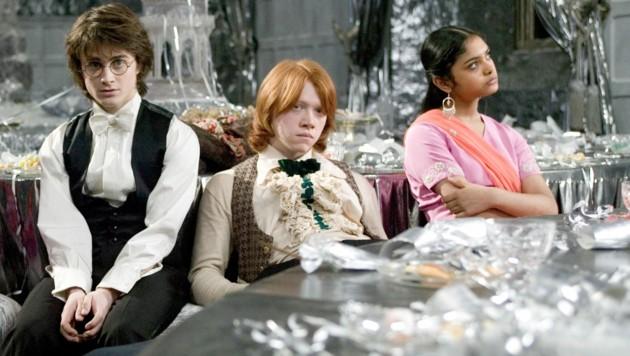"""Daniel Radcliffe, Rupert Grint und Afshan Azad in """"Harry Potter und der Feuerkelch"""" (Bild: mptv / picturedesk.com)"""