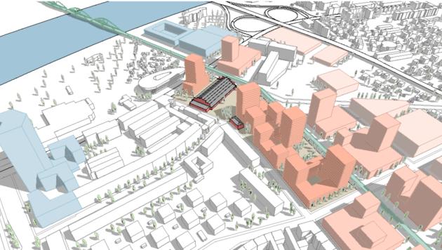 So könnte es aussehen, wenn man die Fläche zu einem neuen pulsierenden Stadtraum entwickeln würde (Bild: Stadt Linz)