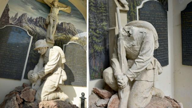 Die Statue samt Kopf (li.) und ohne