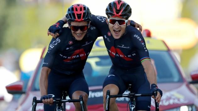 Richard Carapaz und Michal Kwiatkowski (Bild: Associated Press)