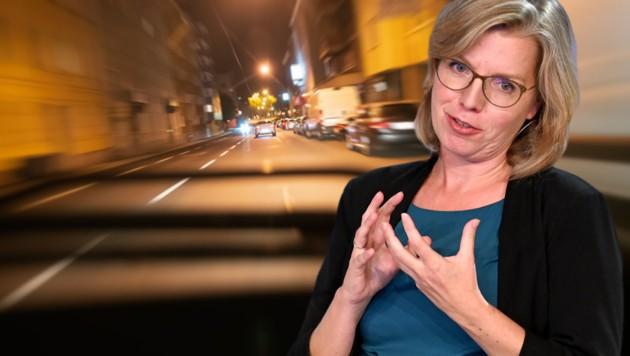 Infrastrukturministerin Leonore Gewessler will Temposünder härter bestrafen. (Bild: APA/Barbara Gindl, stock.adobe.com, Krone KREATIV)