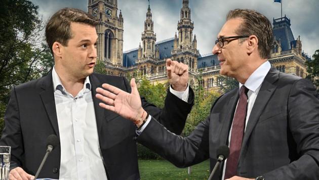 Der Wiener FPÖ-Chef Dominik Nepp darf Heinz-Christian Strache weiter in Verbindung mit Betrug bringen. (Bild: APA/HANS PUNZ, stock.adobe.com, Krone KREATIV)
