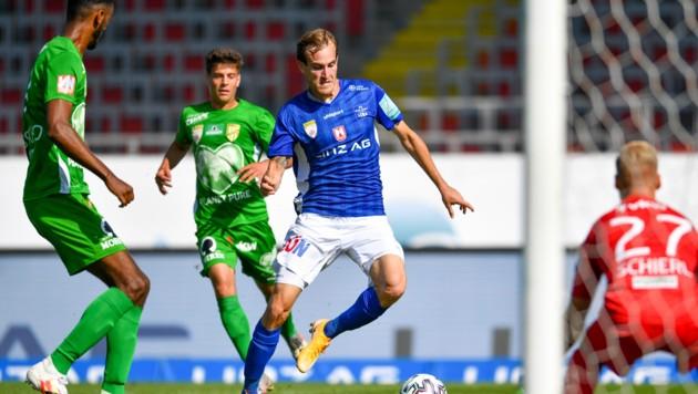 Doppelpack-Schütze Fabian Schubert (BW LInz), auch Haris Tabakovic (Lustenau) traf zweimal. (Bild: GEPA)
