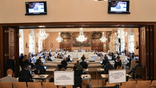 Corona-Sicherheitsvorkehrungen im Landtag. (Bild: Christian Jauschowetz)