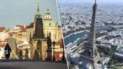 Neu auf der Liste der Risikogebiete: die Region Prag und der Großraum Paris (Bild: APA/AFP/Michal Cizek APA/AFP/GERARD JULIEN, Krone KREATIV)
