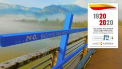"""Schön sprechen – Govorite lepo"""": Lichtinstallation von Tomas Hoke bei der Annabrücke/Grafenstein. (Bild: Evelyn Hronek)"""