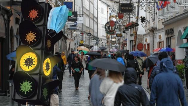 Corona-Ampel in der Stadt Salzburg bleibt auf gelb. (Bild: Tröster Andreas)