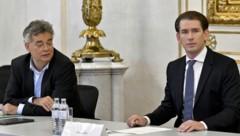 V. l.: Vizekanzler Werner Kogler (Grüne) mit Bundeskanzler Sebastian Kurz (ÖVP) (Bild: APA/HERBERT NEUBAUER)