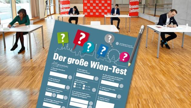 Fast alle Politiker machten mit: Birgit Hebein (Grüne), Christoph Wiederkehr (Neos), Dominik Nepp (FPÖ) und Gernot Blümel (ÖVP) (Bild: Reinhard Holl, Krone KREATIV)