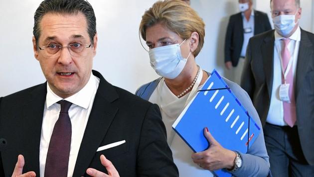 Im Ibiza-U-Ausschuss sagte Bettina Glatz-Kremsner bezüglich möglicher Gespräche mit Ex-FPÖ-Chef Heinz-Christian Strache Gegenteiliges aus. (Bild: APA/ROLAND SCHLAGER, APA/HANS PUNZ, Krone KREATIV)