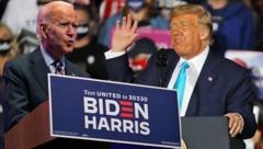 Biden vergleicht seinen Kontrahenten mit Joseph Goebbels. Trump wiederum verlangt von seinem Mitbewerber einen Drogentest. (Bild: AP, APA/Getty Images via AFP/GETTY IMAGES/SPENCER, Krone KREATIV)