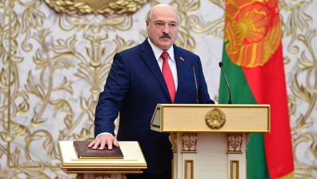 Alexander Lukaschenkos Amtseinführungszeremonie wurde geheim gehalten - wohl aus Angst vor Störaktionen. (Bild: AP)