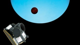 Künstlerische Darstellung: Der Exoplant WASP-189b (braun) vor seiner blau leuchtenden Sonne HD 133112 (Bild: ESA/ATG medialab)